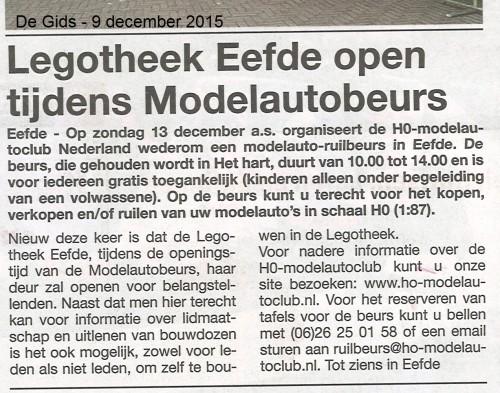 Legotheek Eefde open tijdens Modelautobeurs - De Gids 09122015