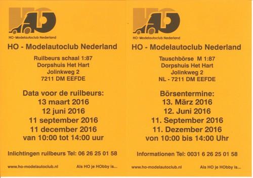 beursflyer HO-Modelautoclub 2016 Nederlands-Duits